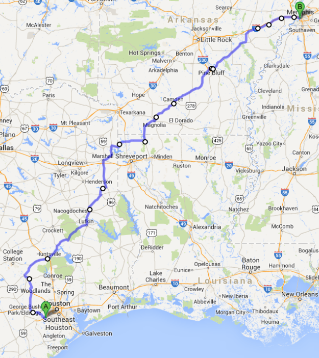 The route I ended up taking from Sugar Land, TX to Memphis, TN